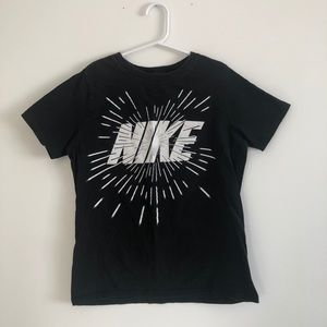 Black and White Nike Athletic Cut Tee for Boys
